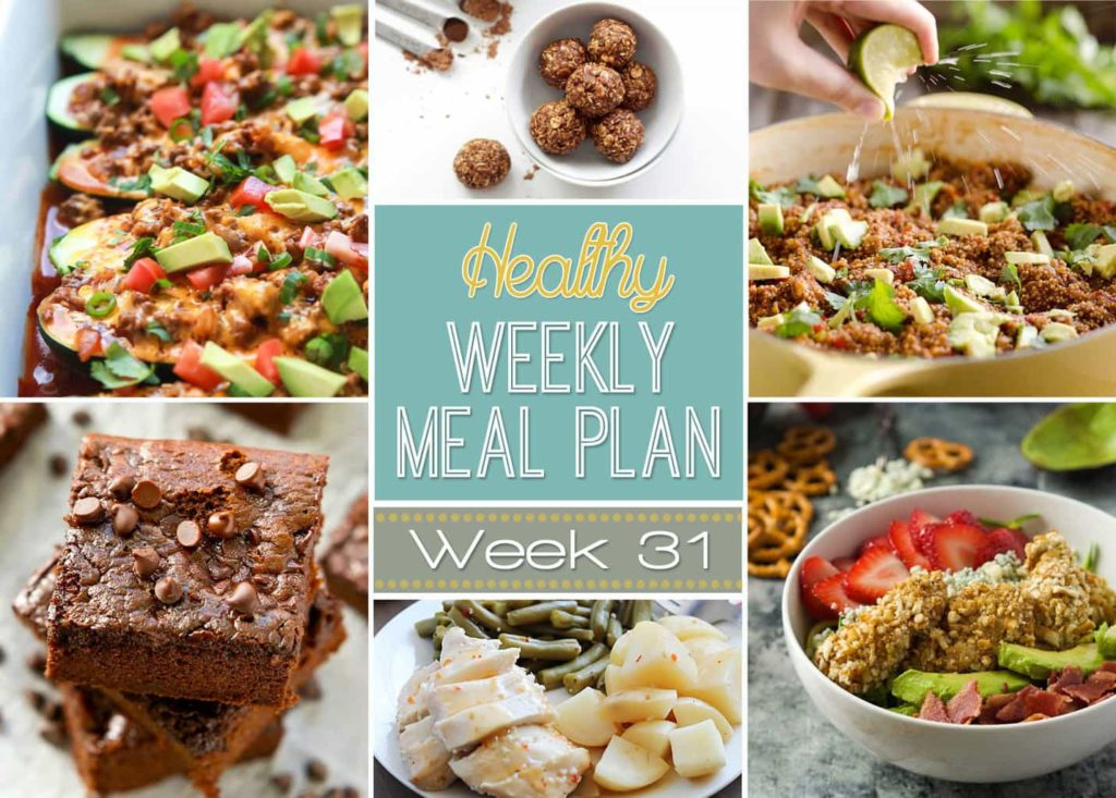 Healthy Weekly Meal Plan #31 is probably one of my favorite yet! Get a new dinner recipe every day plus a breakfast, lunch, side dish and even a healthy dessert recipe thrown in. You can eat healthy and save money by using our healthy weekly menu plan to plan out your meals!