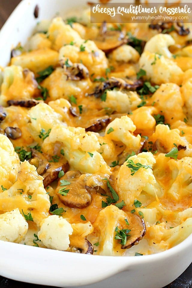 Cheesy Cauliflower Casserole makes the most delicious side dish or meatless main dish! Full of flavor with cauliflower, sautéed mushrooms & leeks, and an easy cheesy sauce that won't pack on the calories. This is incredible!