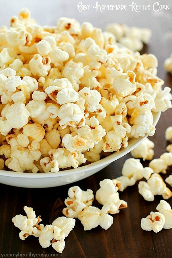 Homemade Kettle Corn that tastes like you bought it at the state fair AND it's totally easy to make and healthier! Only a few ingredients and a few minutes and you're enjoying kettle corn right at home!