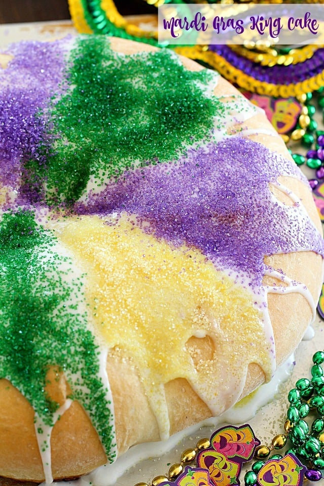 Have you ever made a King Cake for Mardi Gras? It's a fun, colorful cake to serve at a Mardi Gras celebration - or for any occasion because it's absolutely delicious! #truvia #ad