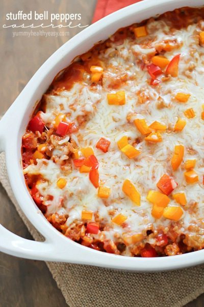 Take those boring stuffed peppers to the next level by turning them into a hearty stuffed pepper casserole! This dinner is healthy comfort food!