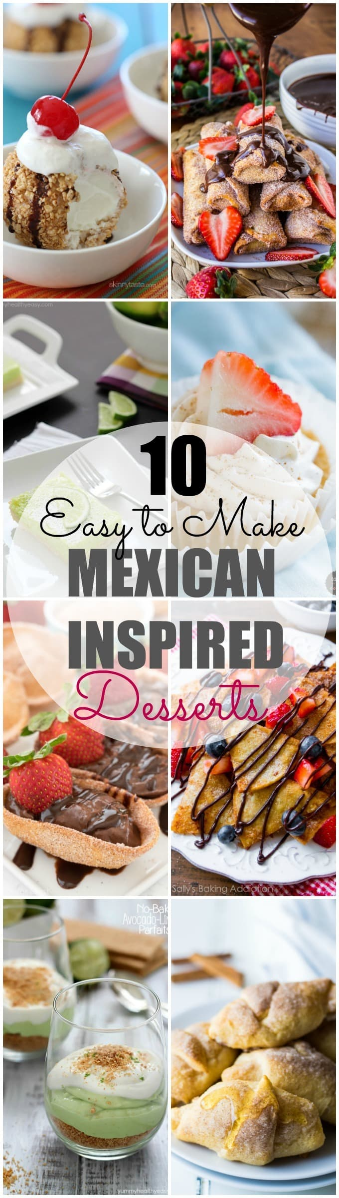 These EASY to make Mexican Inspired Desserts are sure to be a hit! Perfect for an everyday dessert for the family or even possibly a cinco de mayo get together?! Whatever the occasion these simple recipes are so creative, they are sure to knock everyone's socks off!