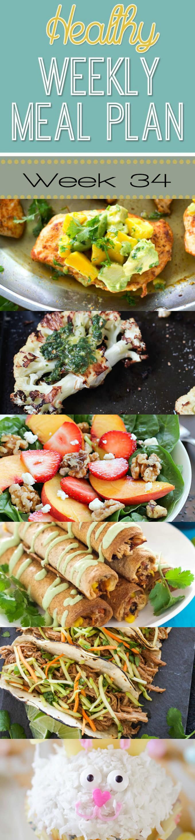 Healthy Weekly Meal Plan #34 is full of yummy, healthy recipes for you to make this week! We have breakfast, lunch, dinner, dessert and a snack all prepped out for you for the week!