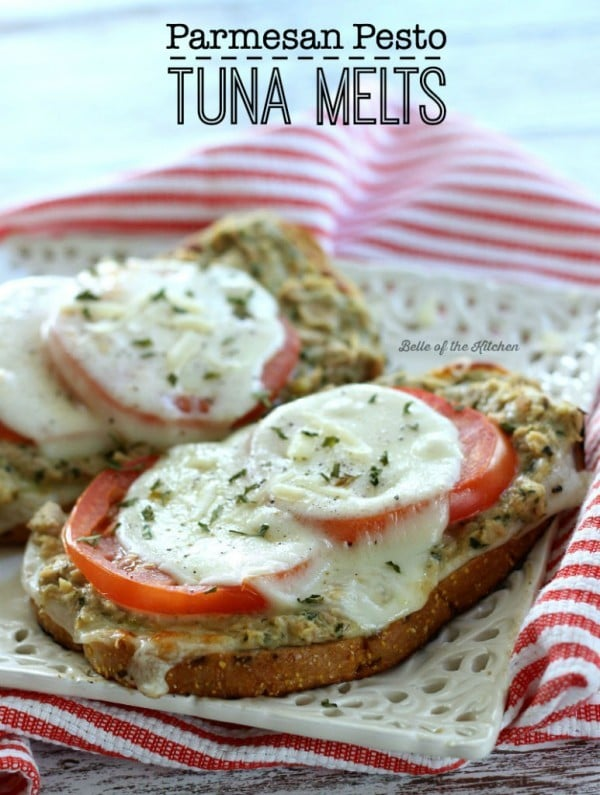 Parmesan Pesto Tuna Melts by Belle of the Kitchen