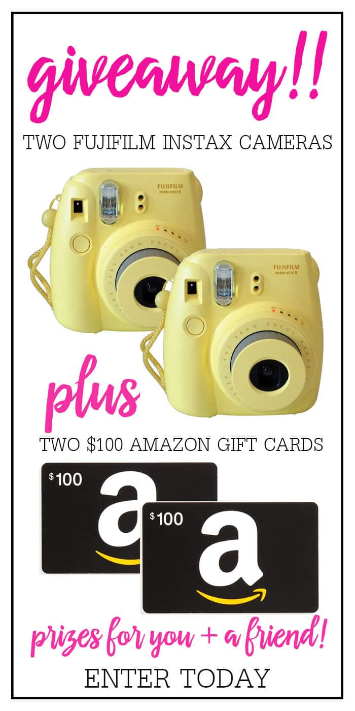 Giveaway times TWO with this Camera & Amazon Gift Card Giveaway! Enter to win an Instax Camera and $100 Amazon Gift Card for you AND a friend! Just in time for spring!