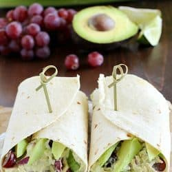 Avocado Chicken Salad Wrap - a perfect blend of avocado, Greek yogurt, chicken, celery, grapes, red onion & spices to make your lunch complete! This is healthy and only takes a few minutes to whip up!