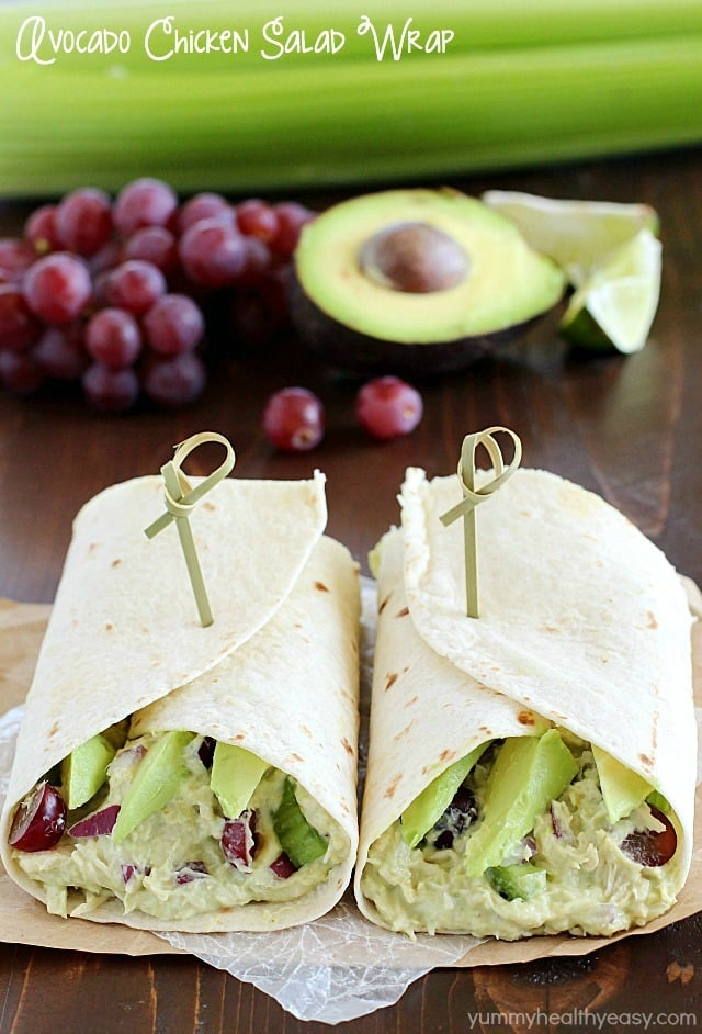 Avocado Chicken Salad Wrap - a perfect blend of avocado, Greek yogurt, chicken, celery, grapes, red onion & spices to make your lunch complete! This is healthy and only takes a few minutes to whip up! AD
