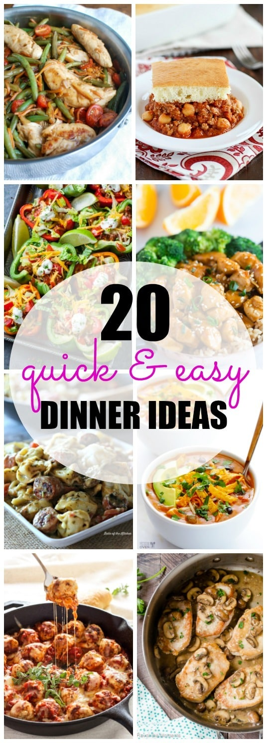 Easy dinner recipes to the rescue! Pressed for time when it comes to weeknight meals? Here are 20 Quick and Easy Dinner recipes to help you get food on the table in 30 minutes or less!