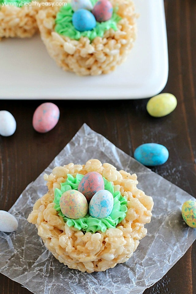 """Rice Krispies Easter Nests are probably the easiest """"homemade"""" Easter treat you can make AND your kids can help you make them! Only a few ingredients to a tasty Easter treat everyone will love!"""