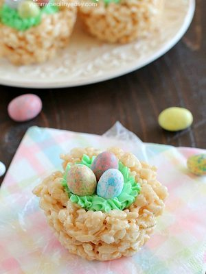 "Rice Krispies Easter Nests are probably the easiest ""homemade"" Easter treat you can make AND your kids can help you make them! Only a few ingredients to a tasty Easter treat everyone will love!"