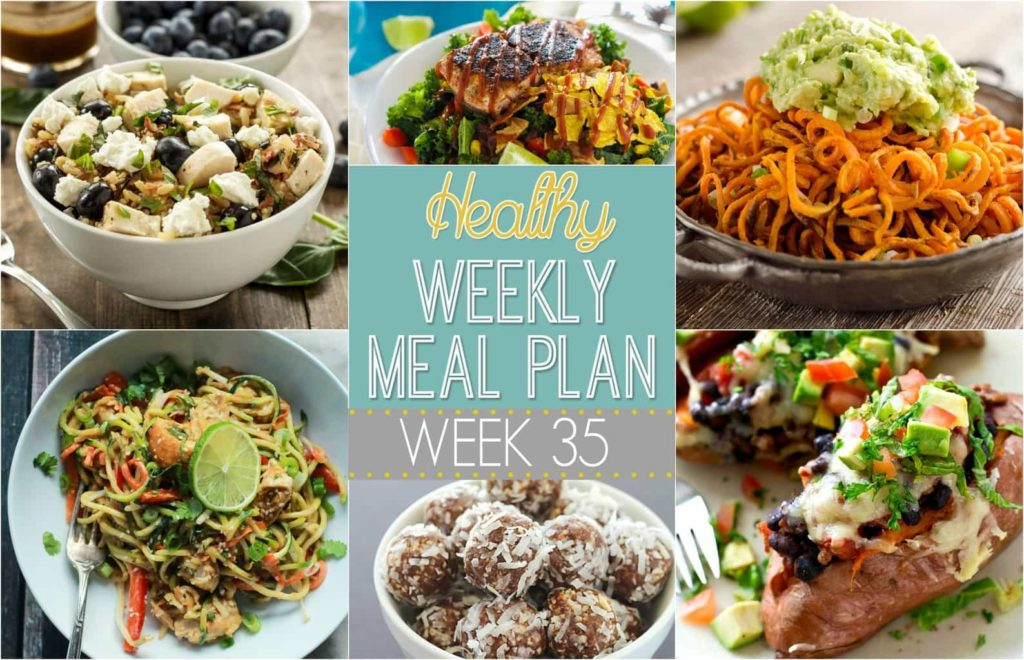 Plan out your meals this week with ease with our Healthy Weekly Meal Plan! Week 35 is filled with healthy main dishes to add to your dinner rotation. Plus a breakfast, lunch, snack and even an amazing dessert, too!