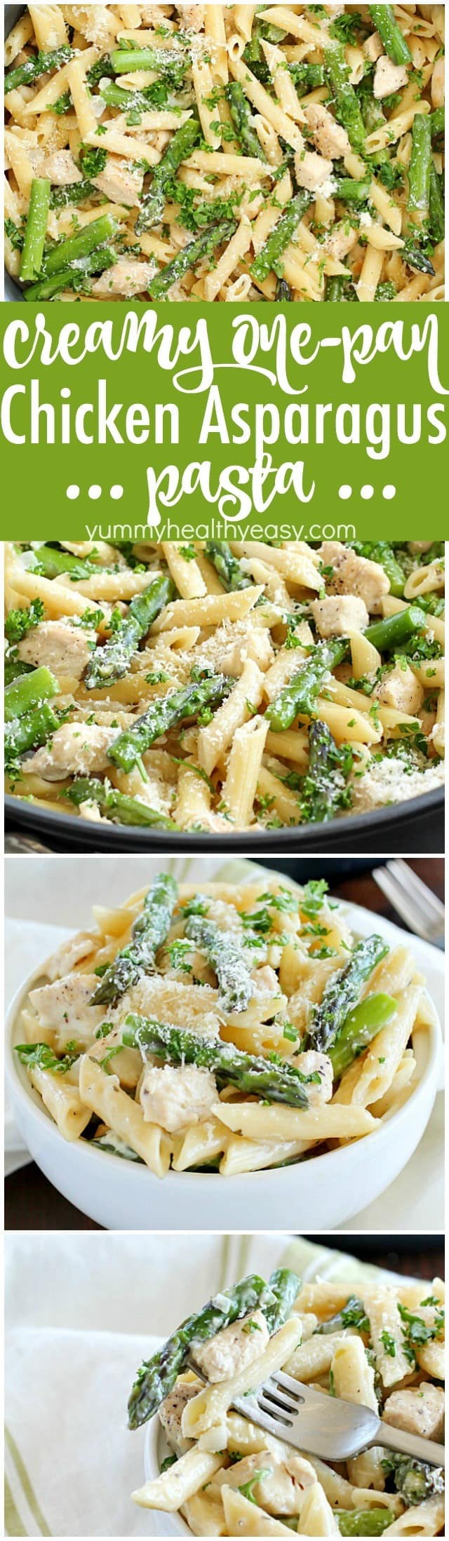 Creamy One-Pot Chicken Asparagus Pasta! Cooked in a creamy sauce and cooked from start to finish in only ONE pan. It's so simple and so easy plus the clean up is a breeze. It's perfect for spring and your busy schedule!
