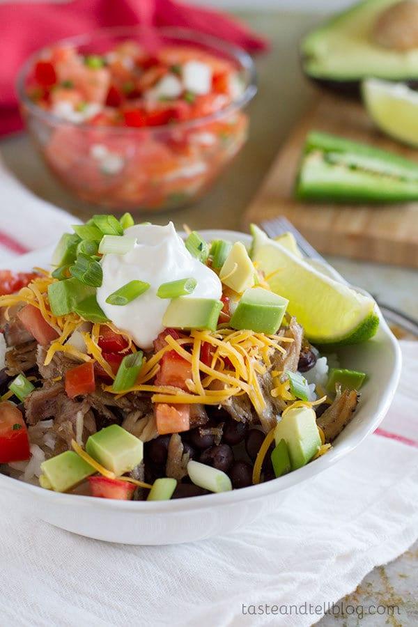 Pork Carnitas Burrito Bowls by Taste and Tell