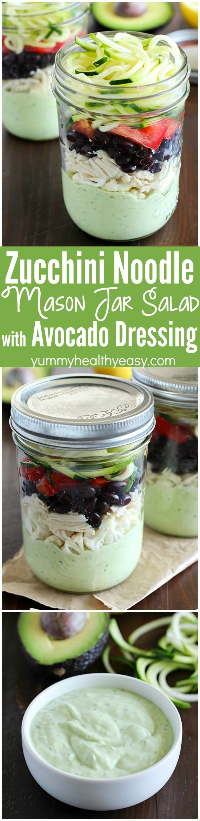Avocado dressing (southwest style!) is nestled on the bottom of this delicious mason jar salad with zucchini noodles on the top and chicken, veggies and black beans tucked in the middle. A delicious and healthy low-carb, low-sugar lunch prepared ahead of time and eaten on-the-go! Plus a HUGE Blendtec Giveaway you won't want to miss!! AD