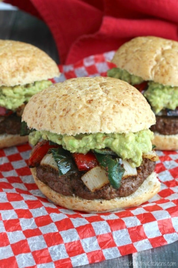Easy Grilled Fajita Burgers with Guacamole by Two Healthy Kitchens