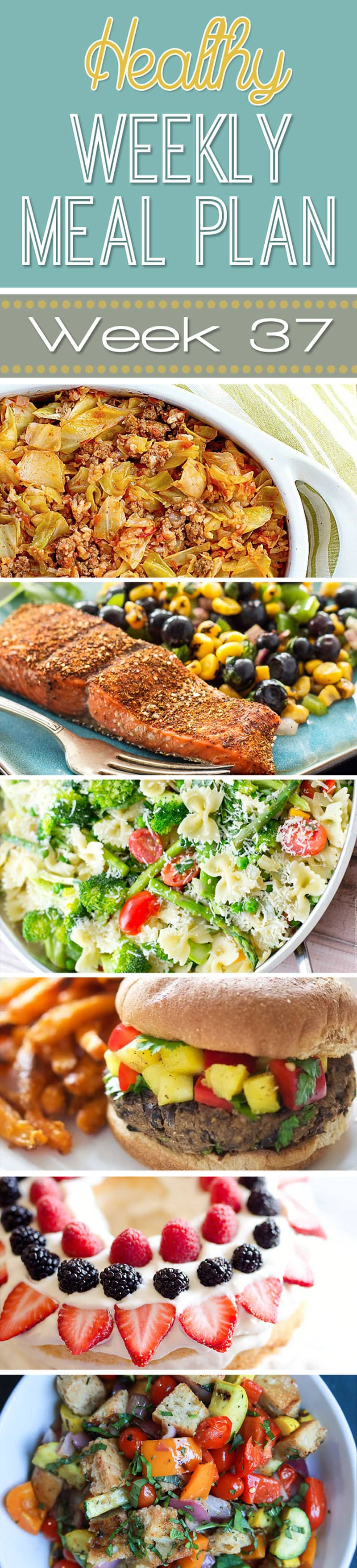 "Healthy Weekly Meal Plan #37 is your answer to the question ""what am I going to make for dinner this week?"" You will love these healthy dinner, breakfast, lunch, side dish and even a dessert recipe!"