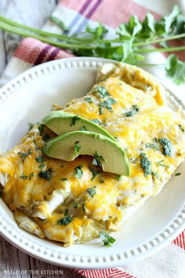 Creamy Salsa Verde Chicken Enchiladas by Belle of the Kitchen
