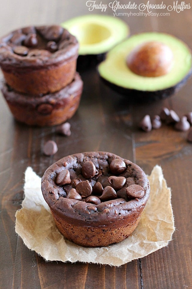Avocado Muffins. With Chocolate. That are fudgy. Yessiree! Fudgy Chocolate Avocado Muffins that are eggless and only 188 calories so you feel like you're eating dessert for breakfast! Hint: you can't taste the avocado at all! AD