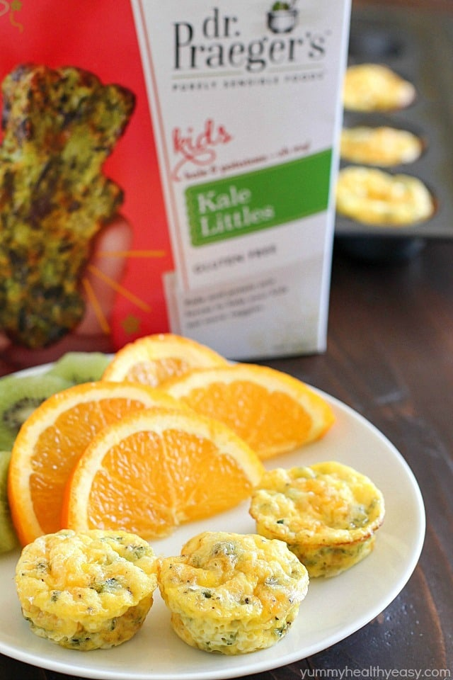 Egg Breakfast Muffins that are full of kale, potato, egg and topped with cheese. Mini, kid-friendly, easy to make, and quick to reheat for a breakfast on the go! AD