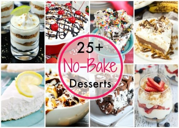 Easy No Bake Desserts Roundup of 25+ delicious desserts for you to make this summer! No need to turn on the oven when you can make easy no bake desserts!