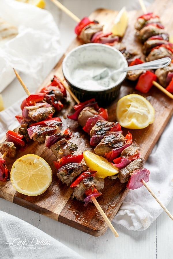Lamb Souvlaki with a Garlic Yogurt Dip by Cafe Delites