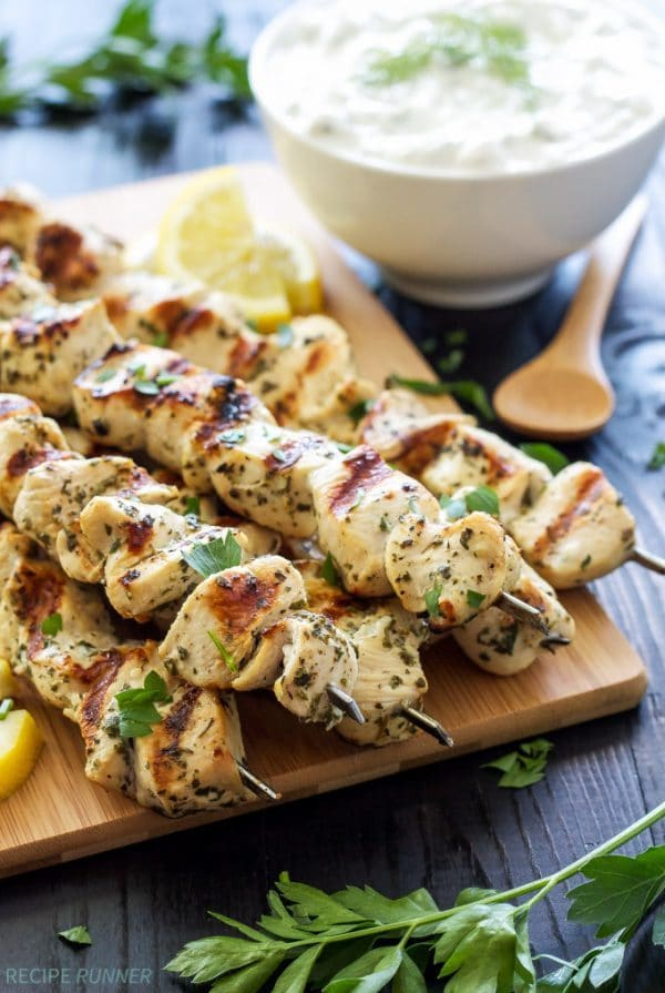 Greek Lemon Chicken Skewers by Recipe Runner