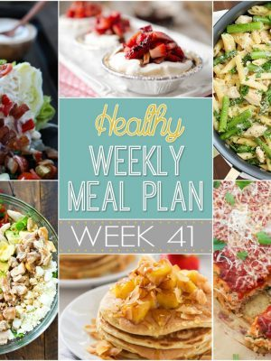 Healthy Weekly Meal Plan #41 - we've made the weekly menu planning easy for you by putting together a list of dinners for the week plus a lunch, snack, side dish and dessert! Bonus? They're all healthy!