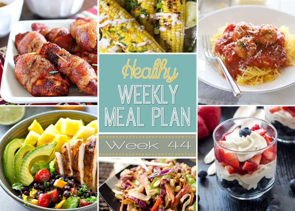 Check out this Weekly Meal Plan that's full of healthy dinners plus a healthy lunch, side dish, snack and dessert! Make your weekly menu planning so much easier with our healthy weekly meal plan!