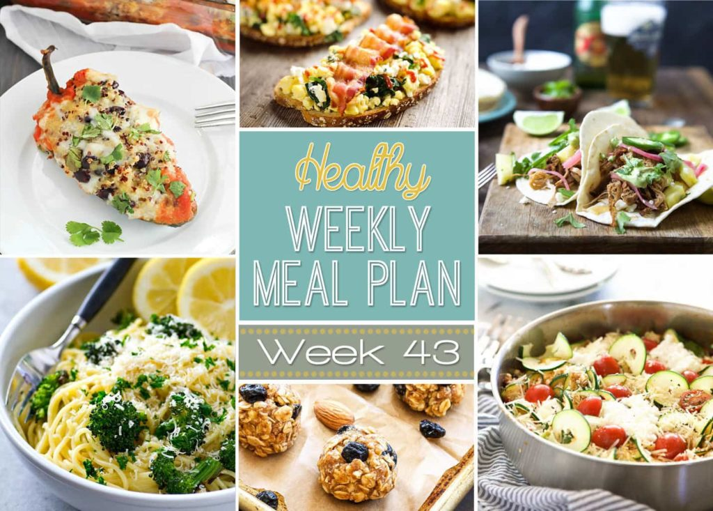 Healthy Weekly Meal Plan #43 is packed full of healthy dinners as well as a healthy lunch, snack, side dish and dessert, too! You won't want to miss this weeks healthy weekly meal plan! Get planning!