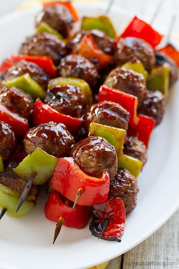 Sweet and Sour Meatball Skewers by Taste and Tell