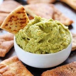 Avocado Hummus with Homemade Pita Chips