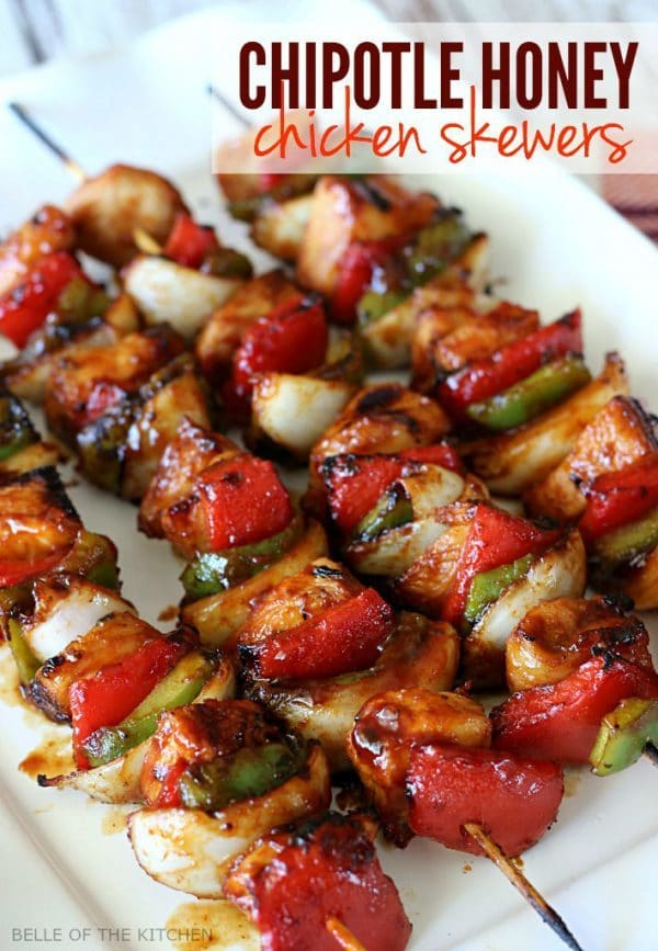 Chipotle Honey Chicken Skewers by Belle of the Kitchen