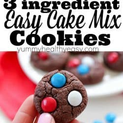 "3-Ingredient Easy Cake Mix Cookies are just about as easy as ""homemade"" cookies can get! Only three ingredients and they bake up in under 10 minutes! These are great for the beginning baker or for anyone that's in a rush and needs a quick cookie recipe!"