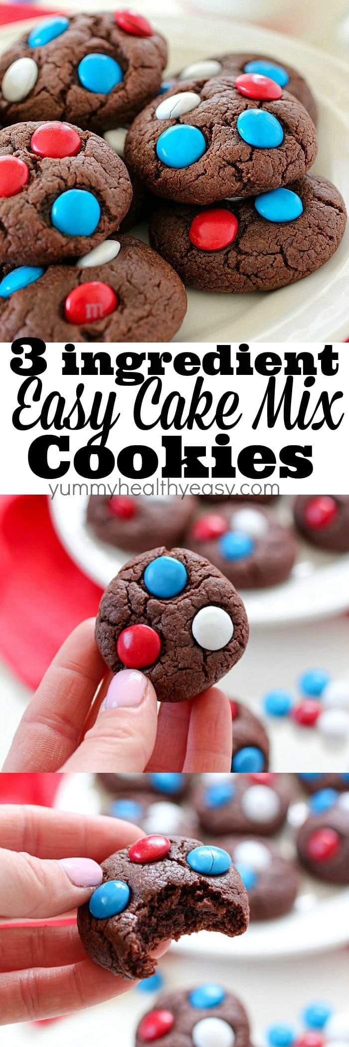 3-Ingredient Easy Cake Mix Cookies - Yummy Healthy Easy