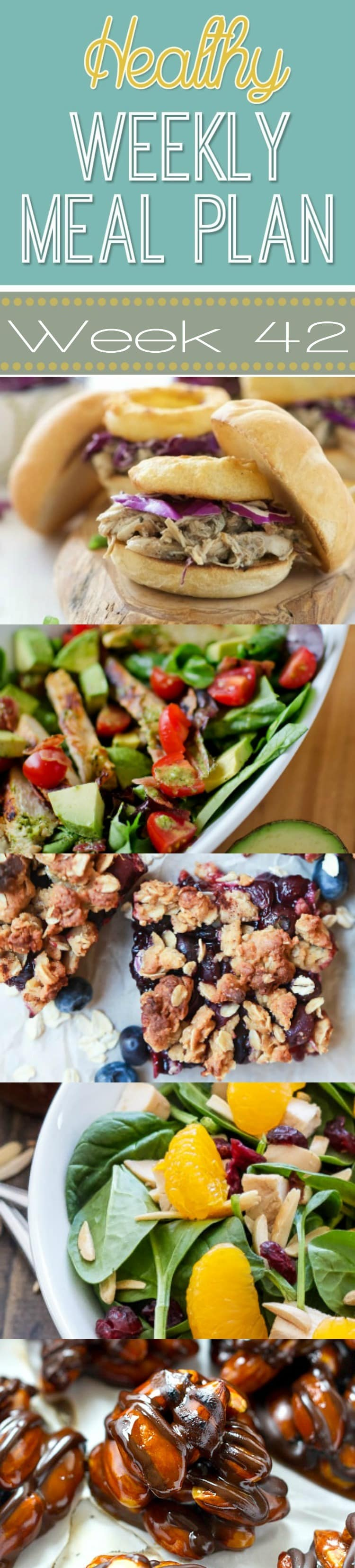 Healthy Weekly Meal Plan #42 - check out this week's healthy recipes! Lots of dinner ideas plus a lunch, snack, side dish and dessert. You won't want to miss this meal plan!