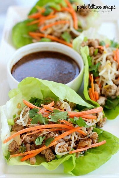 You will LOVE these amazing Pork Lettuce Wraps! Full of flavor, low on carbs and easy to make. Perfect for an appetizer for a group or as a dinner for your family!