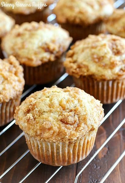 Skinny Banana Muffins with a crazy delicious crumble topping! These banana muffins are the best way to use up those brown bananas on your counter and they're healthier thanks to a few awesome ingredient swaps!