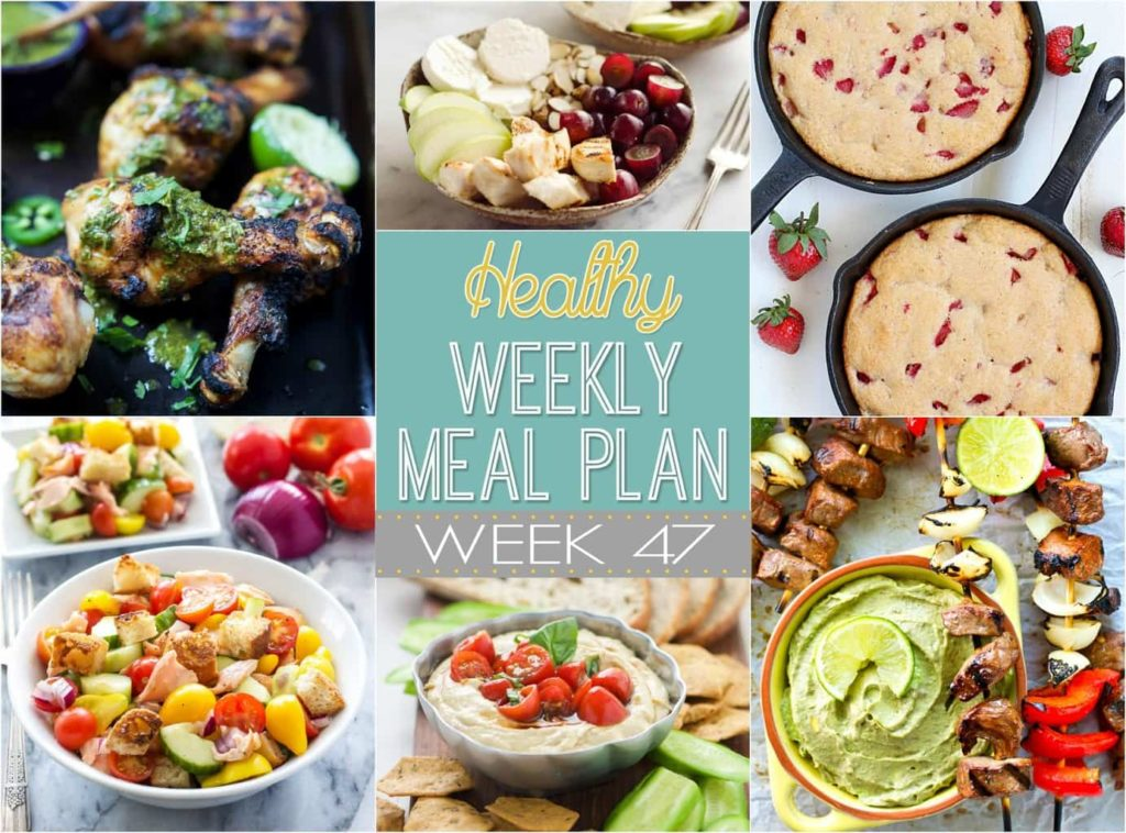 Get ready for a delicious & healthy menu for the week! Healthy Weekly Meal Plan #47 is full of yummy dinner recipes, plus a healthy lunch, side dish, snack, and dessert. You won't want to miss this one!