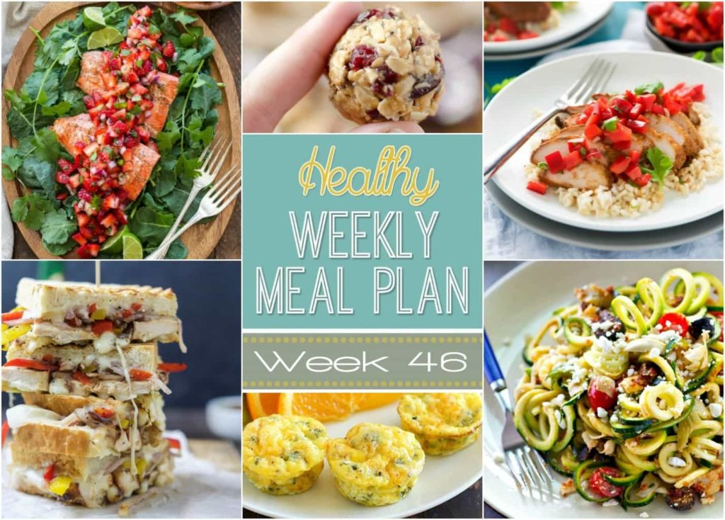 Healthy Weekly Meal Plan #46 is full of delicious dinner recipes for every day of the week plus a breakfast, lunch, side dish and snack recipe, too! Healthy eating will be a breeze for you this week!