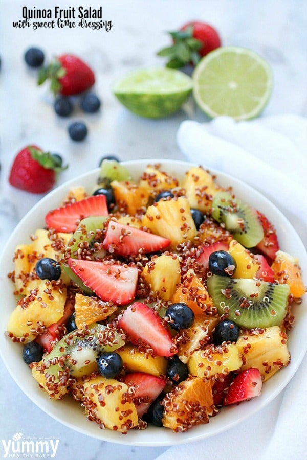 Quinoa Fruit Salad tossed in a Sweet Lime Dressing – a colorful, healthy side dish that goes with any meal!