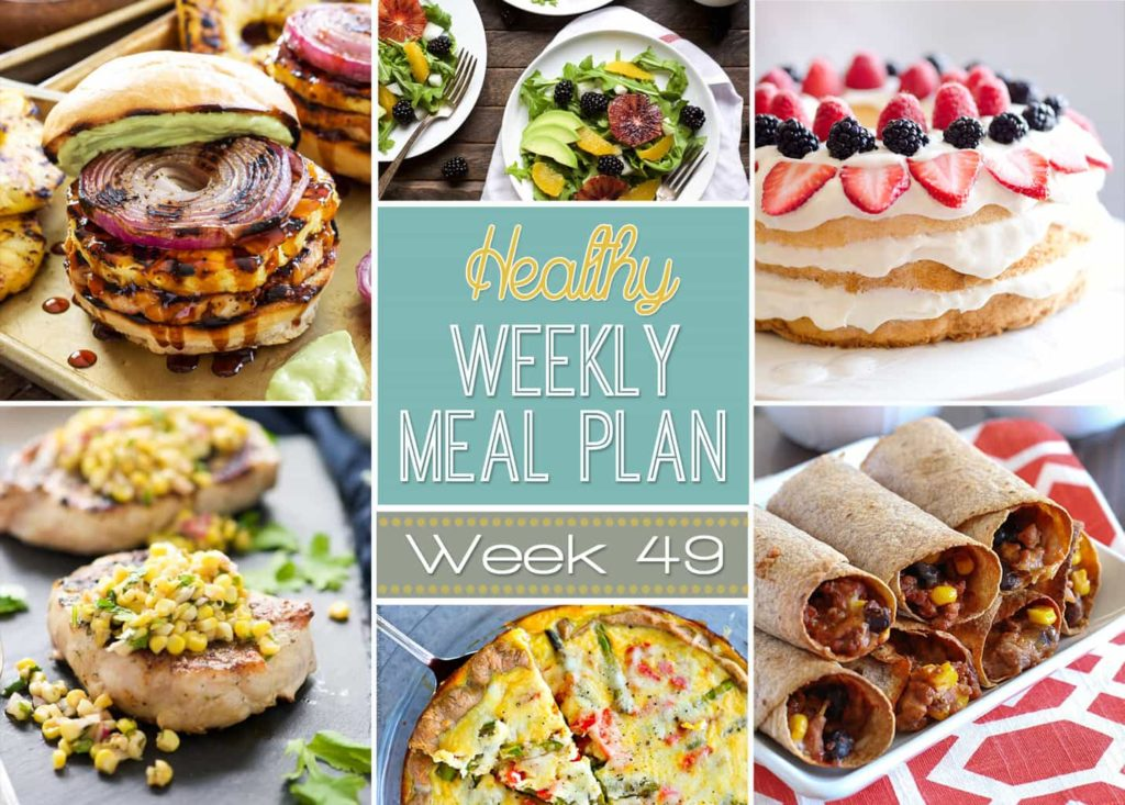Want some new dinner ideas? Looking to eat healthy? Check out this week's Healthy Weekly Meal Plan! Week #49 has all sorts of yummy dinner ideas PLUS a healthy breakfast, lunch, side dish and dessert too! Definitely need to check out these recipes!