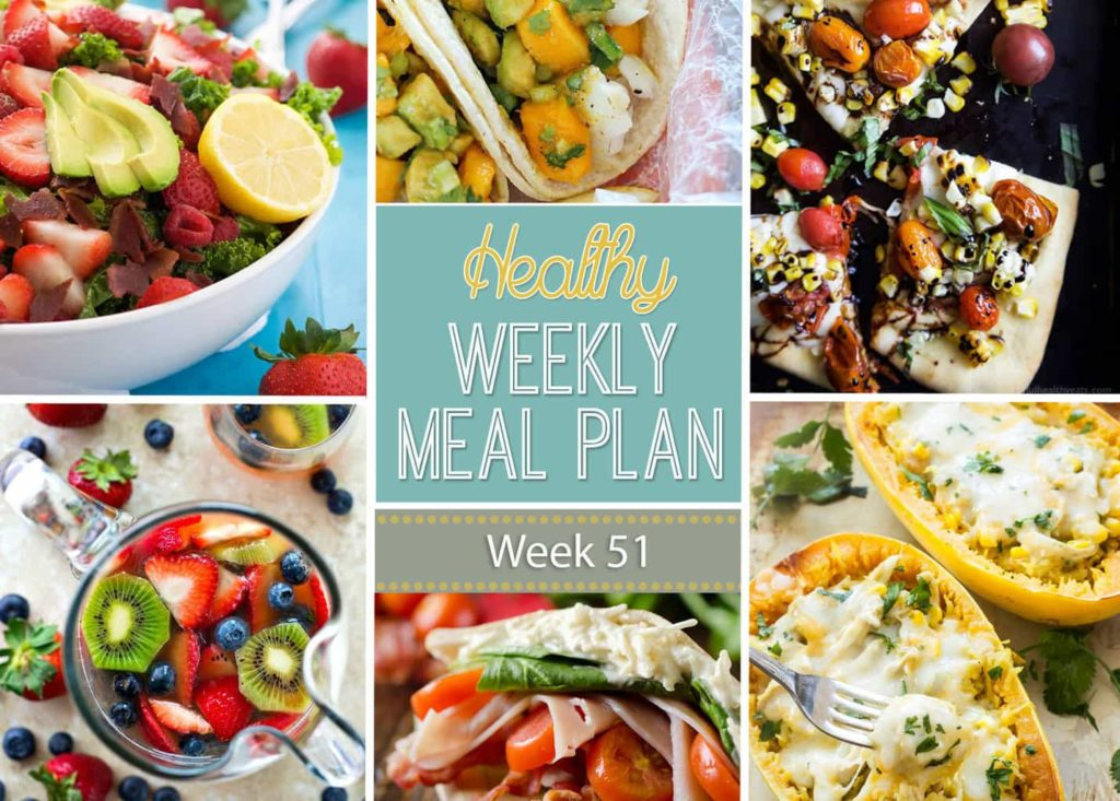 Healthy Weekly Meal Plan #51 will inspire you to eat healthy! You will love preparing the dishes on this healthy menu plan! You get a dinner idea for each night plus a lunch, snack, side dish and dessert recipe. Plus they're all healthier recipes - SCORE!
