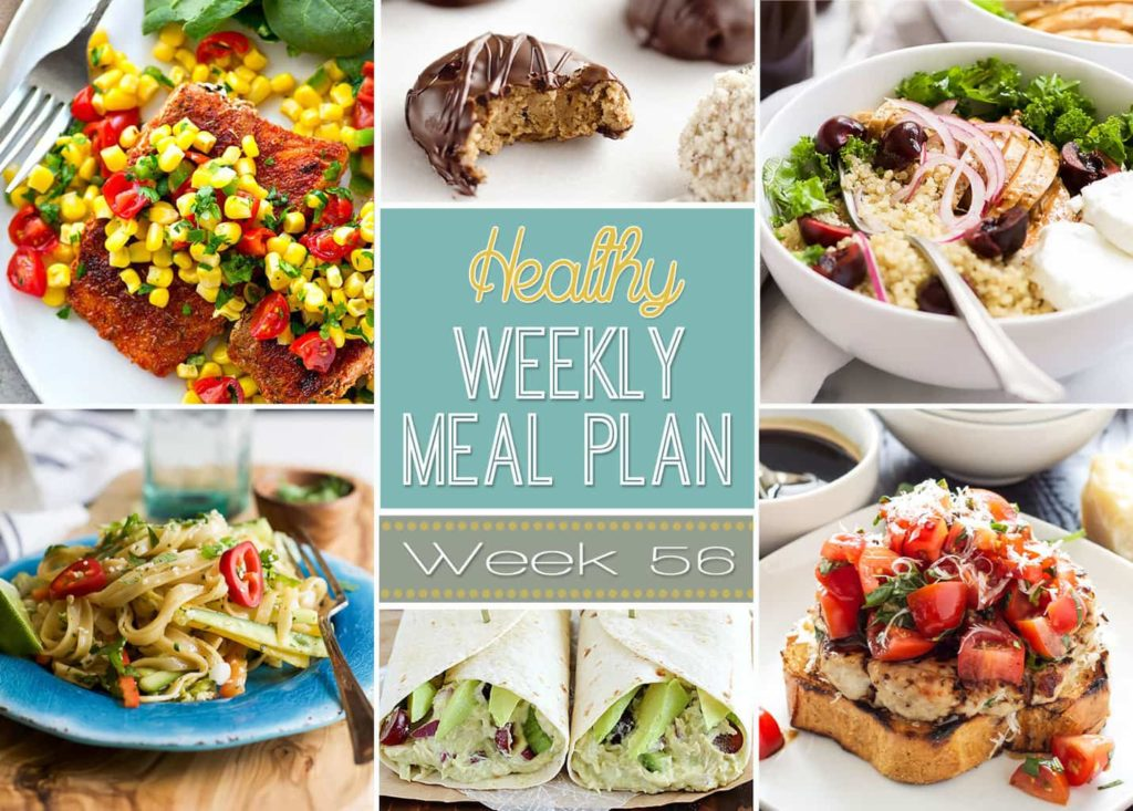 Healthy Weekly Meal Plan #56 has some incredible healthy dinner recipes for you to try this week! Plus a breakfast, lunch, snack, side dish and drink recipe too. So many great healthy recipes all in one place for you!
