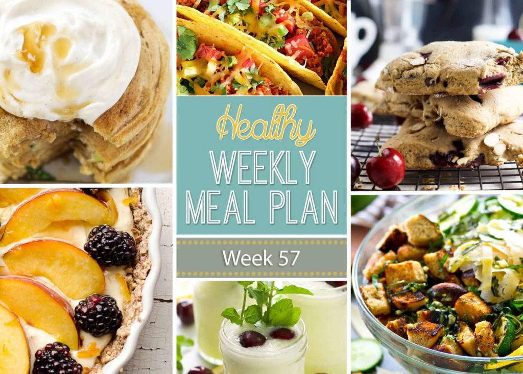 Healthy Weekly Meal Plan #57 is full of delicious healthy dinner recipes but also includes a healthy breakfast, lunch, side dish and dessert! So many yummy good-for-you recipes all in one place to make your meal planning super easy!