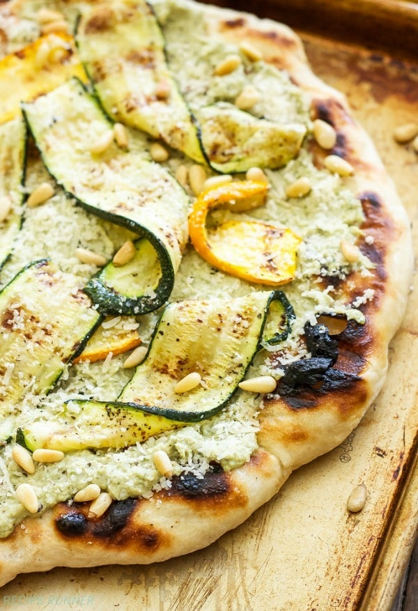 This Grilled Zucchini, Ricotta and Pine Nut Pizza is perfect for an easy dinner or cut it into small pieces for a great summer appetizer!