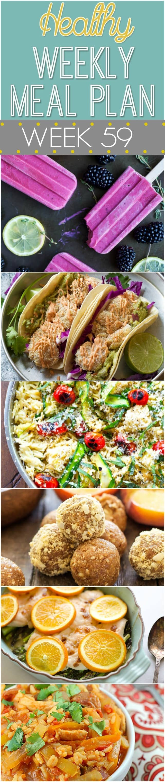 Healthy Weekly Meal Plan #59 - plan out your healthy dinner recipes for the week! Plus a healthy breakfast, lunch, side dish, snack and dessert recipe, too! So many yummy recipes in this week's meal plan!