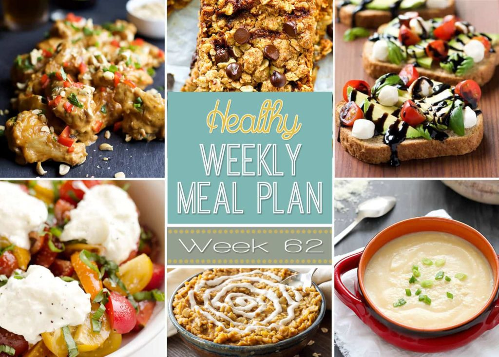 Healthy Weekly Meal Plan #62 is jam packed with healthy dinner ideas for every night of the week. It also includes a healthy breakfast, lunch, snack and dessert that you won't want to miss! Lots of incredible and healthy recipes in one spot. Enjoy!