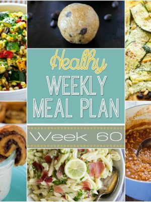 Healthy Weekly Meal Plan #60 includes a healthy dinner recipe for every night of the week plus a healthy breakfast, lunch, snack, side dish and dessert recipe for you as well. Every recipe in our weekly meal plan is delicious and sure to be hit on your dinner table!