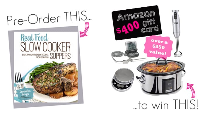 Real Food Slow Cooker Suppers Pre-Order Cookbook Prize Pack Giveaway - check out the awesome prizes in this great giveaway and hear all about a brand new fabulous slow cooker cookbook! Check it out!!