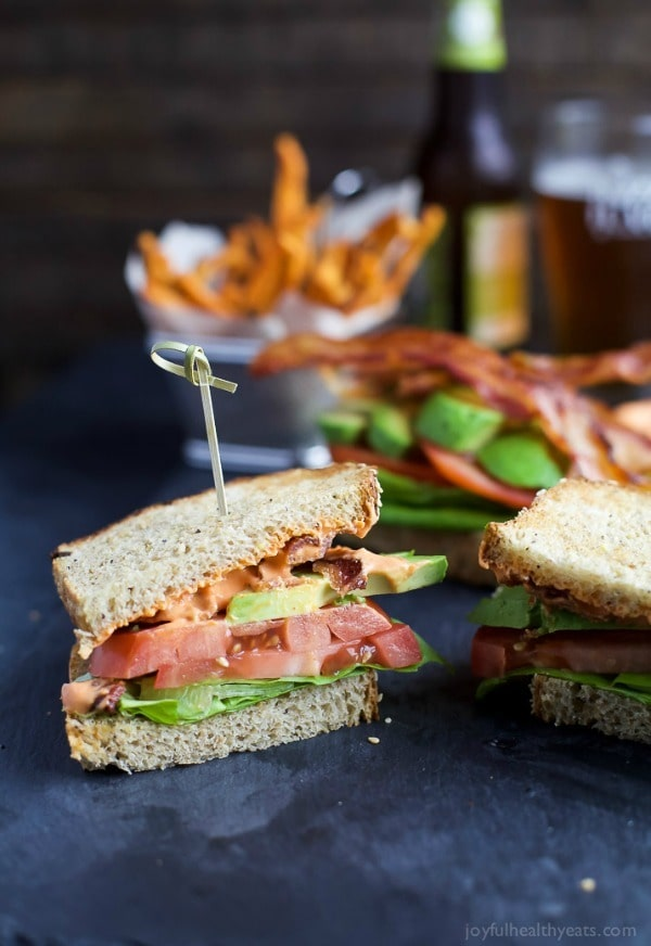 The Ultimate Avocado BLT slathered with a Harissa Mayo that takes this sandwich over the top… that and it's BACON and AVOCADO people!